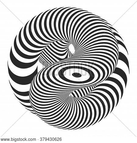 Vector Spiral Diagonal Swirls Sphere With Optical Illusion Effect. Abstract 3d Black And White Illus