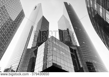 Paris, France - September 29, 2017: Modern Architecture Of La Defense. Tall Towers. Architectural De