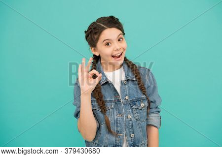 Smiling Teen Girl With Beautiful Healthy Smile, Optimistic Child Concept.