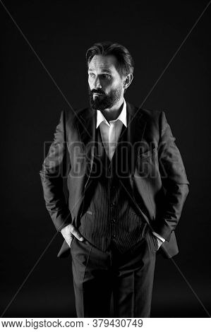Leadership Concept. Male Office Fashion. Mature Businessman In Suit. Successful Business Concept. Co