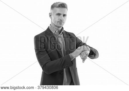 Appreciate Punctuality. Businessman Check Time Isolated On White. Time Management. Working To Deadli