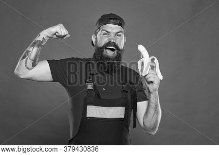 Mens Power And Health. Erect Banana As Concept Of Treating Impotence. Healthy Break Concept. Brutal
