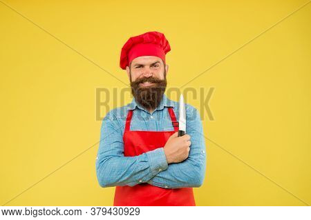 Imagine A New Taste. Mature Hipster With Happy Face. Satisfied Bearded Chef. Brutal Butcher In Apron