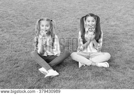 Melt In Your Mouth Dessert. Happy Children Eat Candy Dessert On Sticks. Little Girls Sit On Green Gr