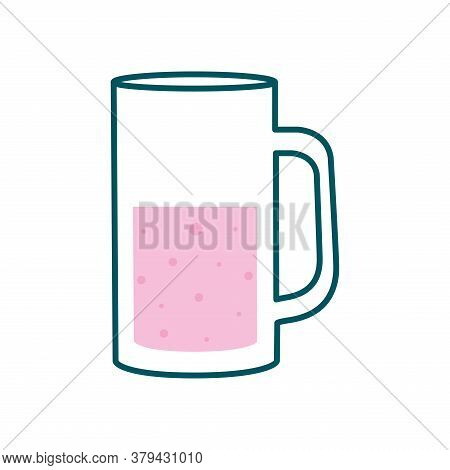 Beer Glass Line And Fill Style Icon Design, Pub Alcohol Bar Brewery Drink Ale And Lager Theme Vector