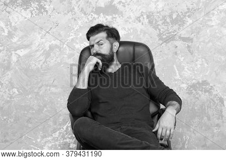 Make Man Look His Best. Bearded Man Relax In Armchair. Brutal Man In Casual Style. Unshaven Man With