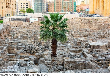 Beirut, Lebanon, August 08.2018: Roman Forum Of Beirut. Excavation In Downtown Beirut Near The Moham