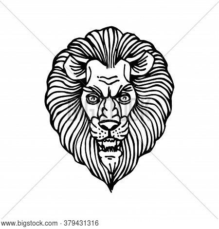 Decorative Lion Head With Mane, For Ornament, Logo Or Emblem, Vector Illustration With Black Ink Con