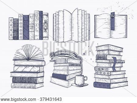 Stacks Of Books, Books And Magazines In A Row And On Top Of Each Other. Concept Of Reading, Sketch P