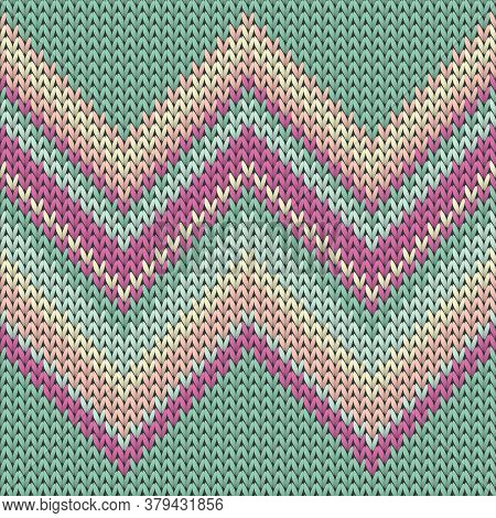 Woolen Zig Zal Lines Christmas Knit Geometric Vector Seamless. Blanket Hosiery Textile Print. Norweg