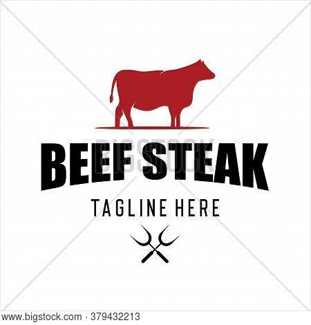 Retro Vintage Cattle Angus Livestock Beef Emblem Label Logo Design Vector.