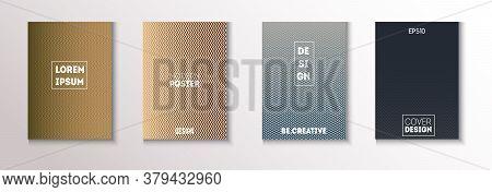 Wavy Minimal Cover Vector Set. Light Magazine Page. Modern Flyer Paper Design. Cool Technology Backg