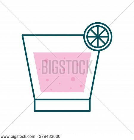 Liquor Cocktail Glass Cup With Lemon Line And Fill Style Icon Design, Alcohol Drink Bar And Beverage