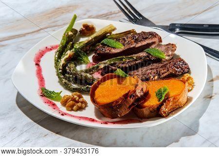 Steak Asparagus Sweet Potato