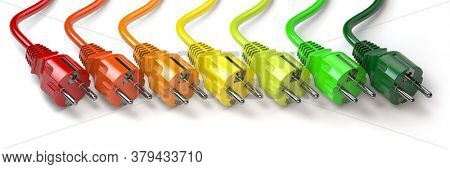 Energy consumption concept. Clolored electric  plugs in colors of energy classification labels. 3d illustration
