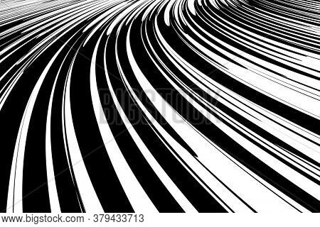 Abstract lines textured background with effect of movement and speed in diminishing perspective.