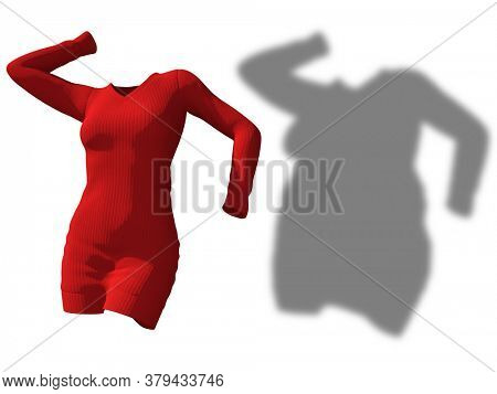 Conceptual fat overweight obese shadow female sweater dress vs slim fit healthy body after weight loss or diet thin young woman isolated. A fitness, nutrition or obesity health shape 3D illustration