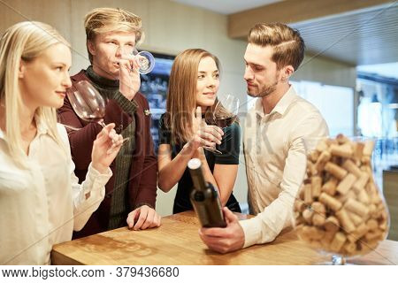 Group of young people at a wine tasting tasting red wine in the wine shop
