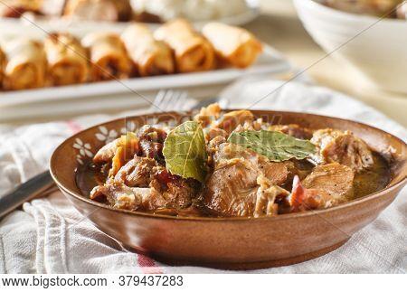 filipino chicken adobo in bowl