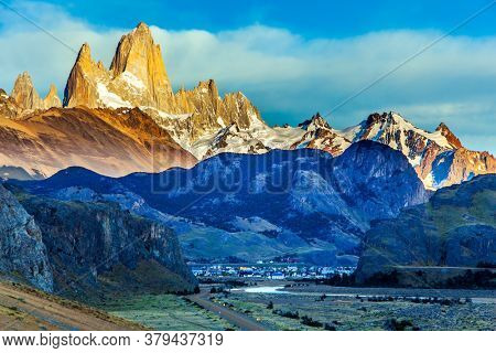 Early morning in the village of El-Chalten. The concept of extreme, active and photo tourism. Fitzroi or Chaltel - mountain peak in Patagonia in the border area