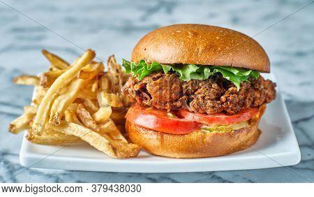 crispy fried chicken sandwich on brioche bun with french fries