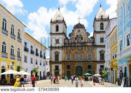 Sao Francisco Church In Pelourinho, In The Historical Center Of Salvador Bahia. Brazil. Pelourinho,