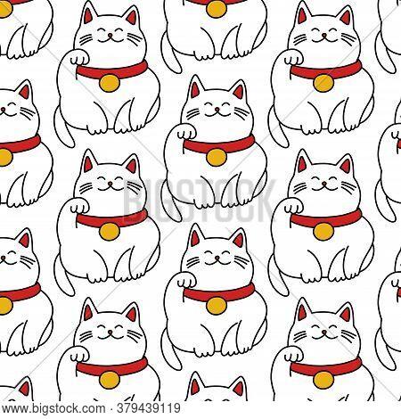Maneki Neko Seamless Doodle Pattern, Vector Illustration
