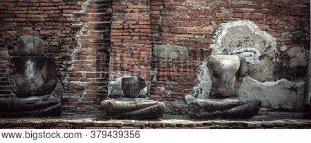 Buddha Decay , Thailand Ruins And Antiques At The Ayutthaya Historical Park , Banner