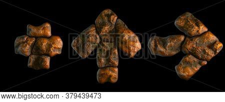 Set of rocky symbols plus, up arrow and right arrow. Font of stone on black background. 3d rendering