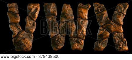 Set of rocky letters V, W, X. Font of stone on black background. 3d rendering