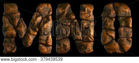 Set of rocky letters M, N, O. Font of stone on black background. 3d rendering