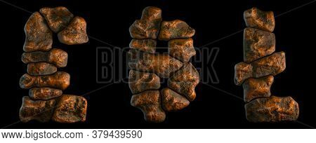 Set of rocky symbols lira, litecoin and dashcoin. Font of stone on black background. 3d rendering