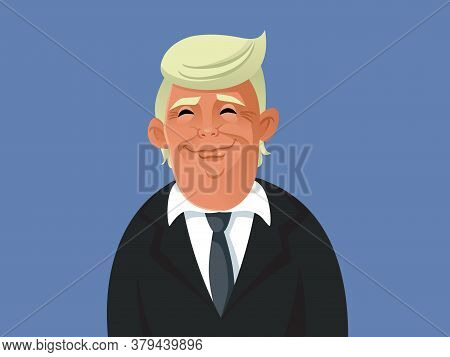 Ny, Usa, August 4, 2020 Donald Trump Vector Caricature