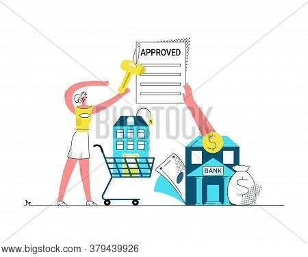 Vector Flat Illustration Young Woman Who Approval Mortgage Permit From Bank And Takes Key To Selecte
