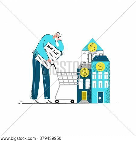 Vector Flat Illustration With Young Man Who Has Received Approval For Mortgage And Chooses House Or
