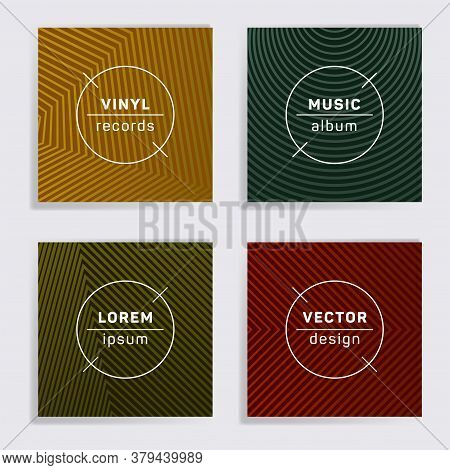 Digital Plate Music Album Covers Collection. Halftone Lines Backgrounds. Flat Plate Music Records Co