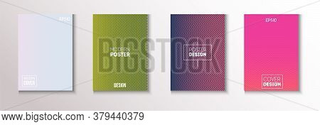 Wavy Minimal Cover Vector Set. Pattern Gradient Overlay Business Folder. 80s Neon Music Poster. Cool