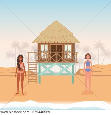 Girls Cartoons With Swimsuit At The Beach With Hut Design, Summer Vacation Tropical And Relaxation T
