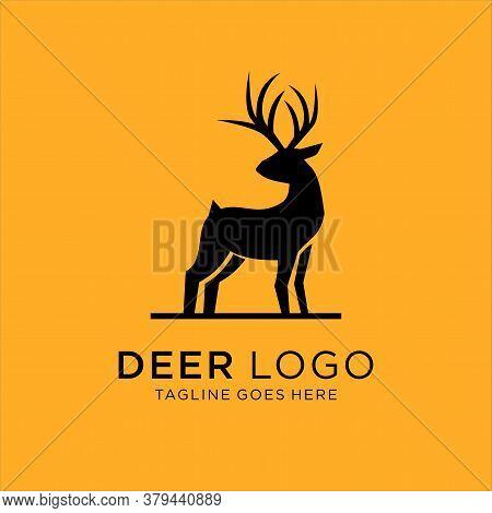 Deer Stand Logo Icon Designs Vector, Vector Illustration. Deer Silhouette.