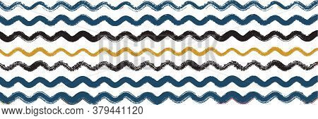 Cool Wavy Zigzag Stripes Vintage Pattern. Cool Vector Watercolor Paint Lines. Dirty Distress Trace.