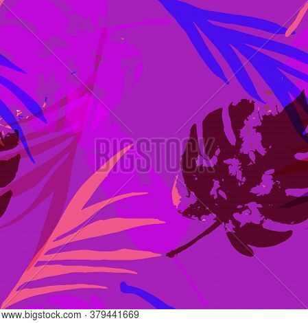 Palm, Banana Leaves Vector Seamless Pattern, Blue Pink Purple Indigo Floral Textile. Adventure Jungl