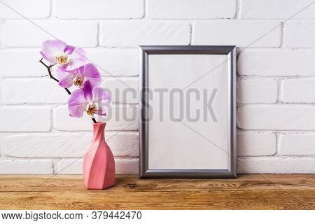 Silver Frame Mockup With Orchid In Pink Twisted Vase