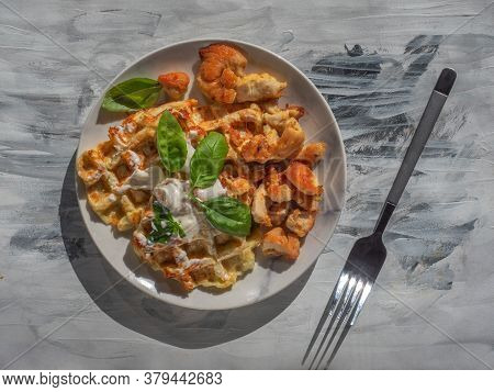 Breakfast With Vegetable Waffles Chicken Meat, Zucchini Waffles With The Addition Of Herbs