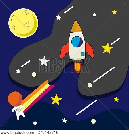 Vector Illustration Cartoon Of Space. Space Flat Vector Background With Moon,rocket,stars,spaceship,