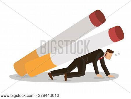 Smoker Man Character Carry Crash By Giant Cigarettes. Smoking Tobacco Problem Concept. Vector Cartoo