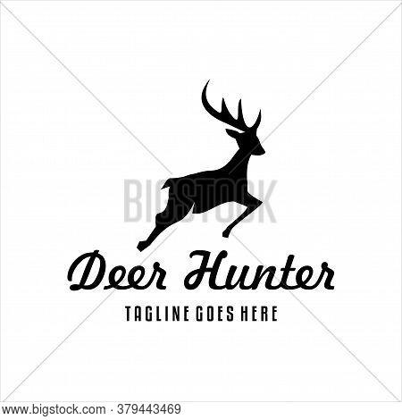 Deer Hunter Vector Design Template, Deer Hunt Logo Vector, Elegant Deer Head Logo Design Template