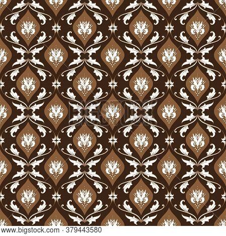Simple Motifs In Bantul Batik Style With The Dark Brown Background Design.