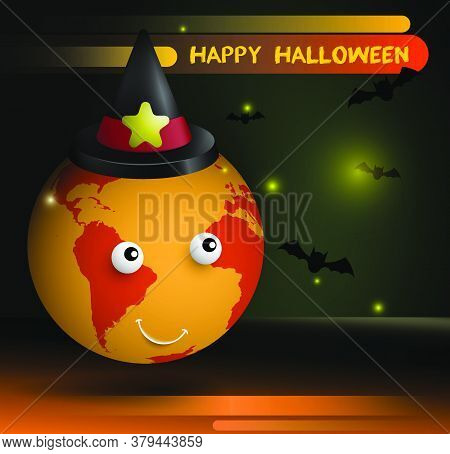 Joyful Planet Earth In Wizard Hat Celebrates Halloween. Bats And Fireflies Are Flying Around. Atmosp