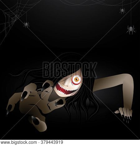 Woman Scary Ghost Zombie, Ghost Creeping Character Haunting In The Dark With Spiders And Spiderwebs.