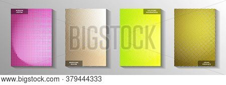 Modern Dot Faded Screen Tone Title Page Templates Vector Series. Geometric Poster Perforated Screen